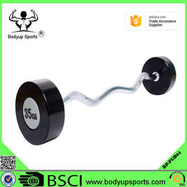 China Rubber Covering Fitness Equipment Barbells With Chromed Steel Handle supplier