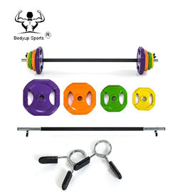 Rubber 20kg Weight Lifting Bar Electroplate Color Beautiful Appearance